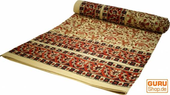 Blockdruck Tagesdecke, Bett & Sofaüberwurf, handgearbeiteter Wandbehang, Wandtuch gelb, braun, orange - Design 11