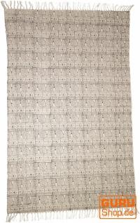 Handgewebter Blockdruck Teppich aus natur Baumwolle mit traditionellem Design - Muster 11