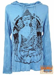 Sure Langarmshirt, Kapuzenshirt Meditation Buddha - hellblau