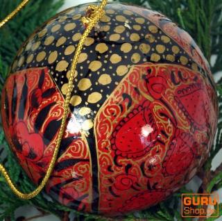 Upcyceling Weihnachtskugel aus Pappmachee, Handbemalter Christbaumschmuck, Kaschmirkugeln - Muster 5
