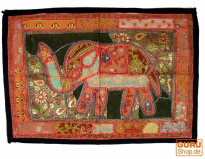 Indischer Wandteppich Patchwork Wandbehang mit Elefant, Einzelstück 90*65 cm - Muster 5