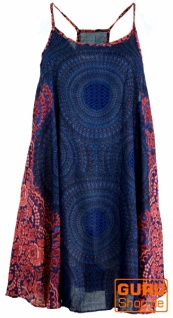 Boho Mandala Minikleid, Trägerkleid, Strandkleid, Tank Top - dunkelblau/fuchsia