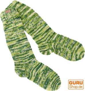 Handgestrickte Schafwollsocken, Haussocken, Nepal Socken - grün