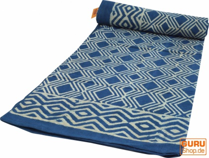 Blockdruck Tagesdecke, Bett & Sofaüberwurf, handgearbeiteter Wandbehang, Wandtuch blau, mehrfarbig - Design 1