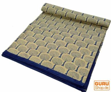 Blockdruck Tagesdecke, Bett & Sofaüberwurf, handgearbeiteter Wandbehang, Wandtuch - blau Lebensbaum