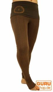 Yoga-Hose mit breitem Bund Bio Baumwolle Yogi - cappuccino