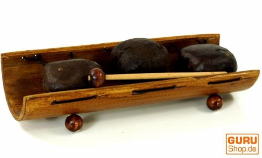 Tisch Klangspiel, Musik Percussion Rhythmus Klang Instrumente aus Bambus und Kokosnüssen, handgefertigt in Bali - Modell 4