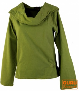 Hoody Boho chic, Langarmshirt mit Schalkragen - dunkles lemongrün