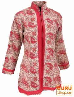 Indische Boho Seidenbrokat Jacke, Sareeseide Mantel, Einzelstück, rot - Modell 5