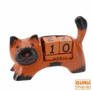 Holz Kalender - Katze orange