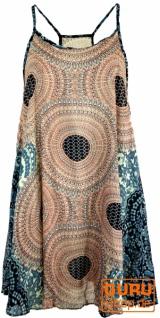 Boho Mandala Minikleid, Trägerkleid, Strandkleid, Tank Top - sand