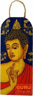 Handgemaltes Buddha Wandbild auf Holz - blau