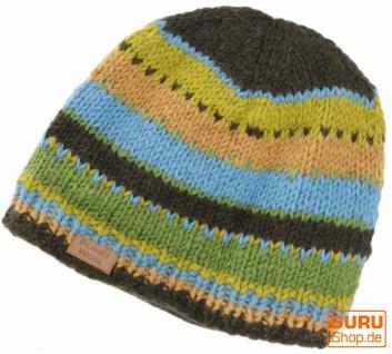 Beanie Mütze, gestreifte Strickmütze aus Nepal - grün