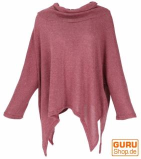 Oversize Pullover mit Rollkragen, Feinstrick Pixi Poncho-Pulli - altrosa