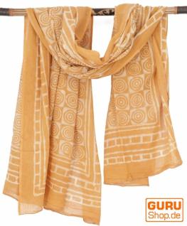 Leichter Pareo, Sarong, handbedrucktes Baumwolltuch - Farb Kombination 2