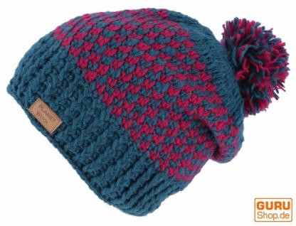 Beanie Mütze, Bommelmütze, Wollmütze aus Nepal - petrol/pink - Vorschau 2