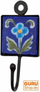 Wandhaken, Garderobenhaken mit handgefertigter Fliese (5*5 cm) - Modell 11