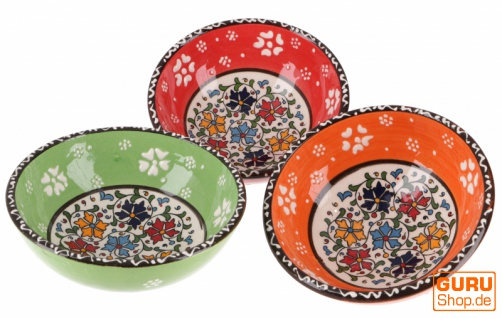 3`er Set Orientalische Schüsseln, Schale, Müslischale Ø 13 cm, handbemalt - Set 7