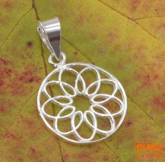 Silberanhänger, Boho Anhänger `Flower of Life Talisman` Talisman - Modell 11