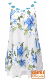 Plus Size Boho Minikleid, weites Sommerkleid, Häkelkleid, Strandkleid, Damen Krinkelkleid Übergröße - weiß/blau