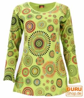 Besticktes Langarmshirt Hippie chic, Boho Longtop Mandala - lemongrün