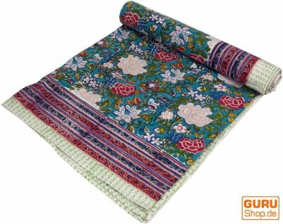 Blockdruck Tagesdecke, Bett & Sofaüberwurf, handgearbeiteter Wandbehang, Wandtuch - grün/blau Rosen