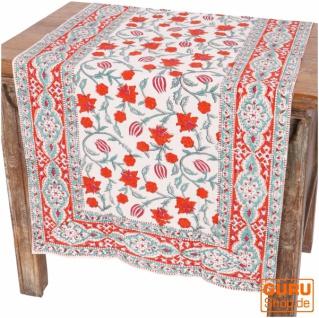 Tischdecke, Tischläufer Blockdruck, Boho Tischdecke - orange