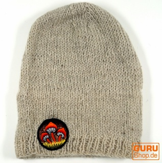 Beanie Mütze, - bestickte Nepalmütze Magic Mushroom - Mütze, naturweiß dd4d87