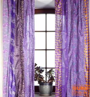 Boho Patchwork Vorhänge (2 Stk.) 1 Paar Bohemia Gardine aus Sareestoff, Unikat - lila