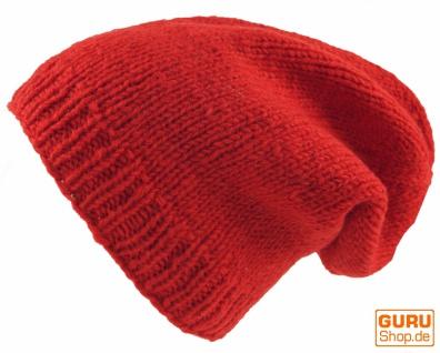 Beanie Mütze, Nepal Strickmütze - rot