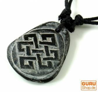 Tibetkette aus Schiefer, Nepalschmuck, Amulett - Endlosknoten