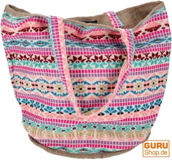 Handgefertigte Boho Shopper Tragetasche, Strandtasche, Einkaufstasche - pink