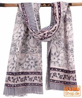 Leichter Pareo, Sarong, handbedrucktes Baumwolltuch - Farb Kombination 22