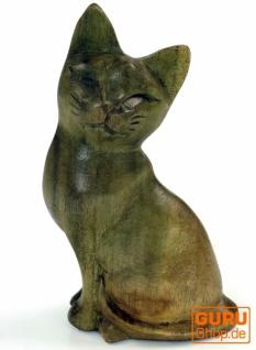 Kleine Deko Figur, Holzfigur, Tierfigur Katze - Modell 3 - Vorschau