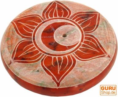 Indischer Räucherstäbchenhalter aus Speckstein, Chakra Räucherstäbchenhalte - Savidisthana