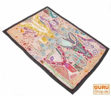 Indischer Wandteppich Patchwork Wandbehang/Tischläufer Einzelstück 90*65 cm - Muster 10