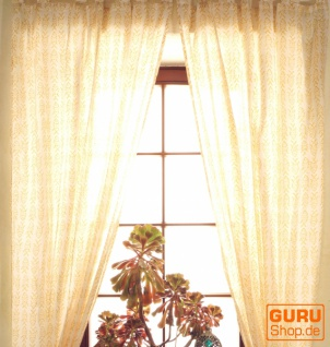 Boho Vorhänge, Gardine (1 Paar ) mit Schlaufen, leicht transparenter handbedruckter ethno Style Vorhang - Muster 3