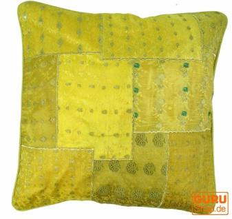 Orientalische Kissenhülle, Kissenbezug Saree Patchwork - gelb