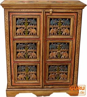Bemalter Elefantenschrank, Beistellschrank, Kommode mit Schnitzerei - Modell 2