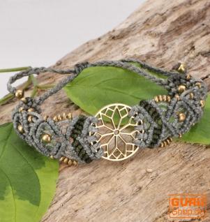 Goa Armband, Makrameee, Festival Armband - Mandala/taupe Modell 27