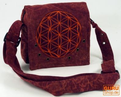 Ethno Schultertasche, Nepaltsche Stonewash `Mandala`- rot - Vorschau 1