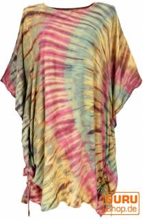 Batik Kaftan, Ibiza-Style Tunika, Boho Bluse, Damen Maxibluse - olive/rot