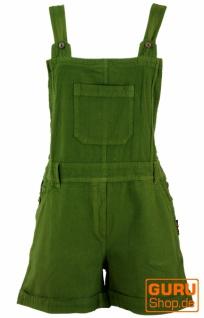 Goa Shorts, kurze Latzhose, Boho Latzhose - olivgrün