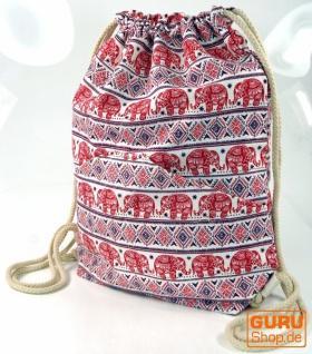 Turnbeutel, Ethno Rucksack, Sportbeutel mit Elefantendruck - rot