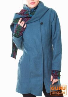 Kurzmantel mit Kapuze / Chapati Design - blue jeans