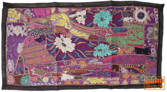 Indischer Wandteppich Patchwork Wandbehang, Tischläufer, Einzelstück 85*45 cm - Muster 18