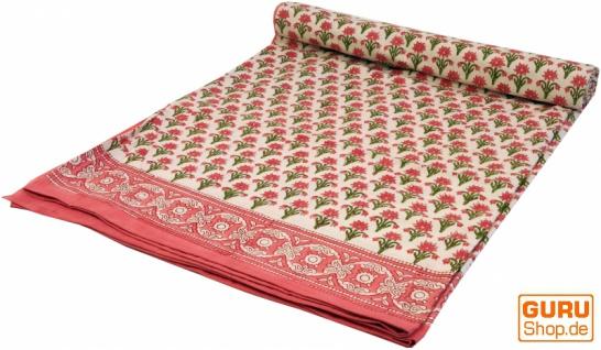 Blockdruck Tagesdecke, Bett & Sofaüberwurf, handgearbeiteter Wandbehang, Wandtuch - rosa Blümchen
