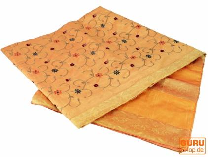 Brokat- Samtdecke, Tagesdecke, Bettüberwurf - orange/gelb