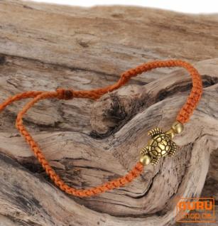 Ethno Schildkröten Perlenarmband, Makramee Armband - orange