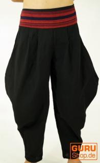 Pluderhose, Pumhose, Sarouelhose mit breitem gewebtem Bund - schwarz